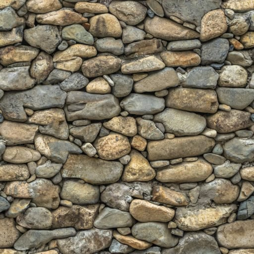 Natural round stone wall seamless texture