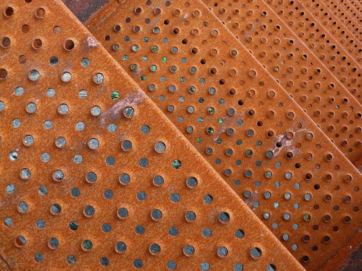 rusty industrial perforated steel