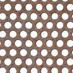 Rusty perforated metal sheet - seamless texture
