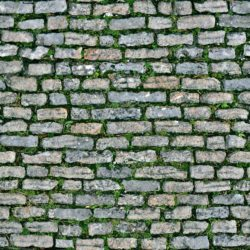 Rectangular stone pavement with grass seamless texture
