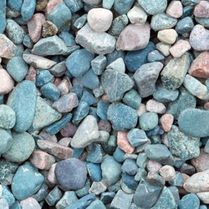 Blue and white river pebbles close up